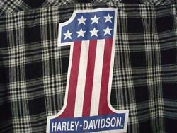 Harley Womens #1 Logo Flannel Plaid Long Sleeve Woven Shirt L SNAPS FACTORY SOFT $49.97