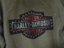 Harley Womens XL NEW 99038 18VW STUDDED SWEATSHIRT RAGGAN FACTORY LOGO CASUAL FL $59.97