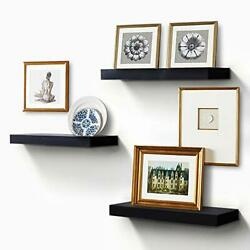 Floating Shelves for Wall Easy to Install Set of 3 5.9quot; Deep Black Black $56.19