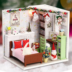 US DIY Mini Doll House Miniature Kit Furniture Wooden Dollhouse LED Toy Handmade $18.04