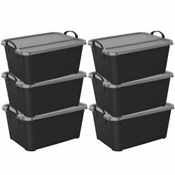 6 Pack Life Story Black Stackable Closet amp; Storage Box 55 Quart Containers $22.99