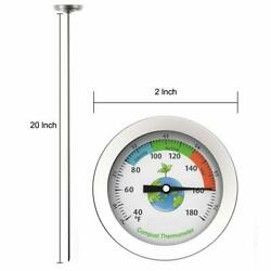 Efeng Backyard Compost Soil Thermometer 20quot; Probe 2quot; Large Dial $13.49
