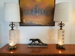 Pair Mid Century Modern Optic Prism Clear Glass amp; Brass Hollywood Table Lamps $245.00
