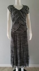 Women#x27;s 2 Piece Dress Maxi For Cynthia Sz Med Black White Striped Rouching $13.00