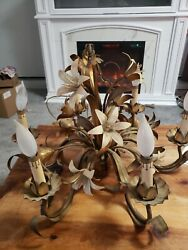 Vintage Italian French Hand Painted Tole 6 Light Chandelier Flowers Art Deco $329.00