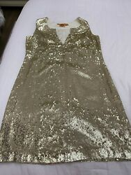Tory Burch Kylie Dress Gold Sequin Dress Size 8