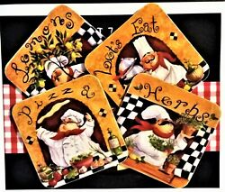 Set of 4 Crazy Italian Chefs Coasters 4quot; Square $17.25