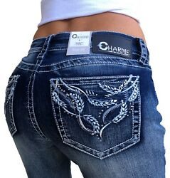 Charme By Grace In LA Jeans Mid Rise Festival Feather Bling Easy Bootcut Stretch $53.02
