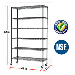 6 Tier Commercial Wire Shelving Rack 48quot;x18quot;x82quot; Adjustable Metal Rack W Casters