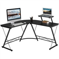 "51.2"" L Shaped Desk with Monitor Stand Home Office Computer Corner Desk $76.99"