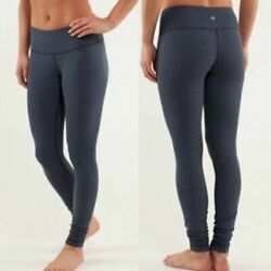 Lululemon Wunder Under Women#x27;s Blue Inkwell Stripe Leggings Size 8 $44.99