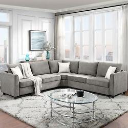 3 piece Sectional Sofa Modern Living Room Fabric Couch With Back Cushion Grey $1479.99