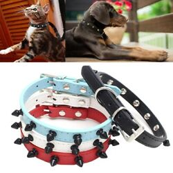 Puppy collar Rivet Spiked Studded small pet dog leather cat Necklace Choker $7.86