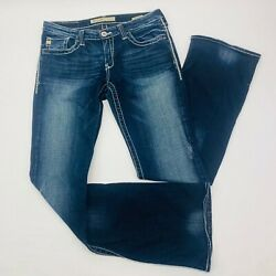 Big Star Womens Jeans 29L Blue Casey K Low Rise Fit Boot Stretch Dk Wash Whisker $45.59