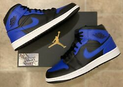 New Nike Air Jordan 1 Retro Mid Hyper Royal Blue Black 2020 Basketball Mens Size $189.25