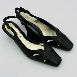 Easy Street Womens Dress Shoes Close Toe Brown Faux Leather Slingback 2quot; Heel 9M $18.28