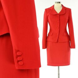 Womens 6P Bright Red Skirt Suit Reflections By Spiegel $47.00