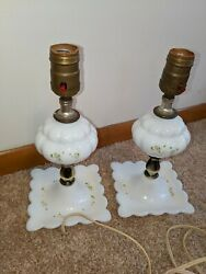 Pair of Vintage Lamps Milk Glass Boudoir Bedside antique $26.95