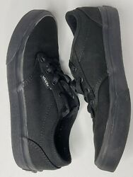 Vans Off The Wall Boys Black Skate Shoes Canvas Lace Up Size 3.5 $20.00