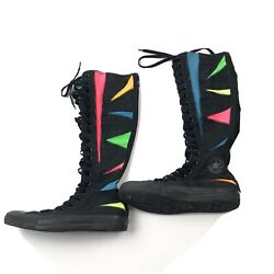 Converse Chuck Taylor All Star Knee High Boots Lace Up Zip Neon Rainbow Unisex $78.97