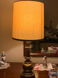 Stiffel Table Lamp Mid Century Traditional 3 Way Vintage Heavy Brass $75.00