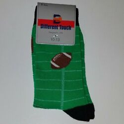 NEW Different Touch Football Socks Green Men Sock Size 10 13 Fits Shoe Size 6 10 $9.95