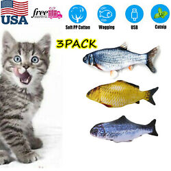 USB Charging Fish Toy Electric Floppy Moving Catnip Flopping Realistic Cat Toys $16.79