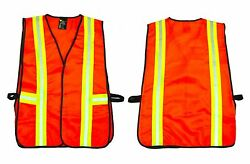 G amp; F 41113 Commercial Safety Vest With Reflective Strips Neon Orange 1 Piece