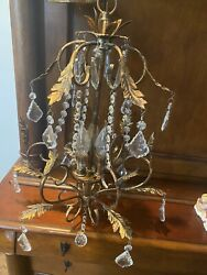 Vintage Chandelier Gold with Candle Bulbs amp; Dangling Prisms $225.00