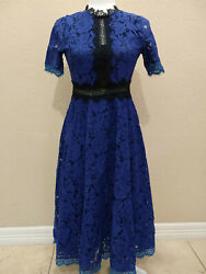 Coeur De Vague Blue And Black A Line Lace Dress NWT Sz 4 US $44.99