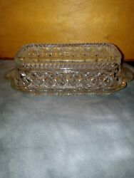 Vintage Crystal Glass Clear Anchor Hocking Wexford Pattern Butter Dish w Lid $16.00