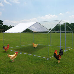 Metal Chicken Coop Large Walk In Poultry Cage Hen Run House Rabbits Habitat Cage $320.99