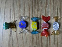 5 GLASS CANDIES Italian Decor Murano Candy COLLECTIBLE Hand Blown Lot #4 $16.79