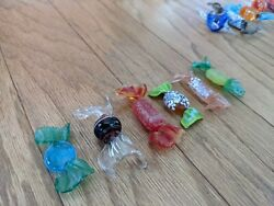 6 GLASS CANDIES Italian Decor Murano Candy COLLECTIBLE Hand Blown Lot #2 $15.49
