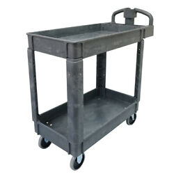 Commercial Products 2 Shelf Utility Service Cart Small Lipped Shelves