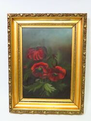 Antique Victorian Oil Painting on Board Red Poppies William O#x27;Neal Gold Frame $196.00