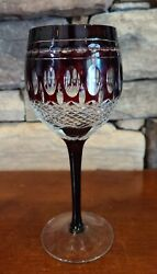 VINTAGE CRYSTAL RUBY RED CUT TO CLEAR THUMBPRINT WINE GLASS HOCK GOBLET $11.50