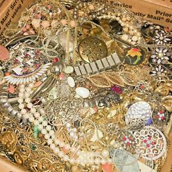 3 4 Lbs Jewelry Vintage Modern Huge Lot Junk Craft Box FULL POUNDS Pieces Parts $34.00