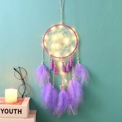 LED Feather Dream Catcher Home Wall Bedroom Hanging Decor Ornament Girls Gift $14.99