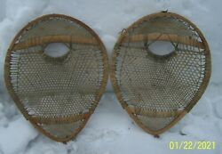 Very Early Vintage Bear Paw Snowshoes Small Tight Webbing $825.00