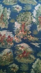 Fox Hunt Horses Tapestry Upholstery Quality Italian Decor Fabric 1 Yard NEW $39.95