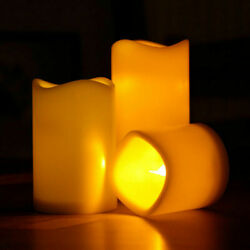 1 2 4 Flickering Flameless Resin Pillar LED Candle Lights Party Decor with Timer $13.99