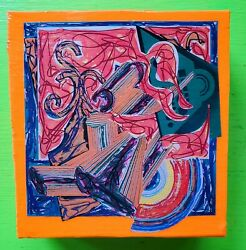 Vintage Mid Century 60s 70s 80s Colorful Abstract Frank Stella Wall Hanging Art $20.00