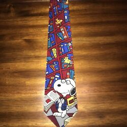 Peanuts Snoopy Woodstock Library Book Tie VTG Red Blue Novelty Teacher $16.99