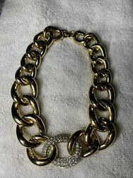 Vintage Signature Givenchy Necklace Gold Tone Open Link Rare Couture $150.00