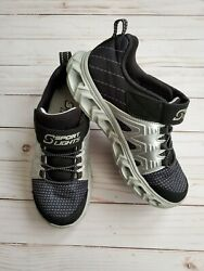 Big Boys Silver amp; Black Skechers with Lights Size 3 $12.50