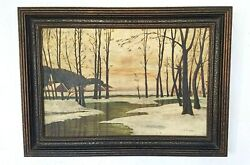 Serene Original Victorian Oil Painting Winter Stream Snow Trees Signed A Jensen $125.00