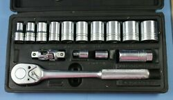 Vintage Socket Set Tool Box Indestro 7 16quot; 1quot; Extension Spark Wrench 17 Items $124.95
