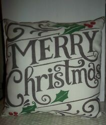 Pottery Barn Merry Christmas Pillow Indoor Outdoor Large 18 x 18quot; $36.99