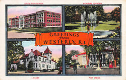 4 Scenes of Westerly Rhode Island Early Postcard Unused $12.00